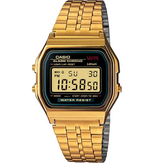 Casio Vintage Alarm Crono Watch Gold Black Face