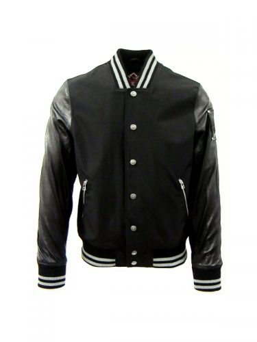 Moose Knuckles Heath Leather Varsity Bomber Black