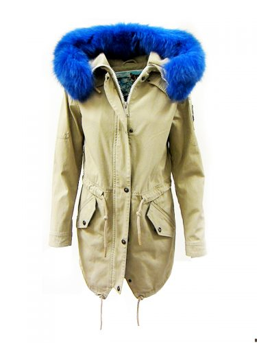 Moose Knuckles Mainville Coat Tan Blue Dyed Fox Fur