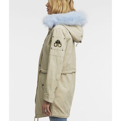 Moose Knuckles – Mainville Summer Canvas Jacket – Tan/ Sky Blue Fur