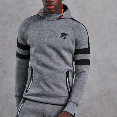 Super Dry – Gym Tech Striped Hoodie – Grey