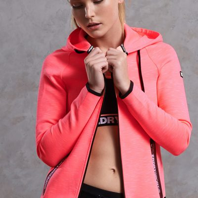 Super Dry – Gym Tech Luxe Zip Hood – Coral