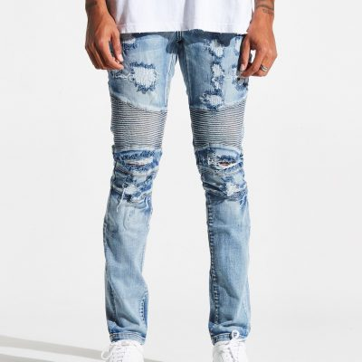 Embellish NYC – Hoover Biker Denim – Mid Blue