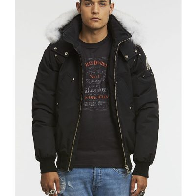 Moose Knuckles – Ballistic Bomber – Black w/ White Fur
