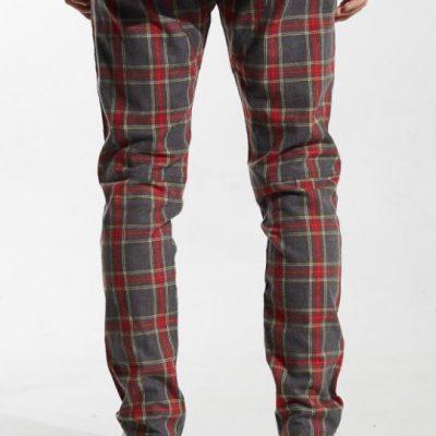 Embellish NYC – Simpson Track Pants – Grey/Red Plaid