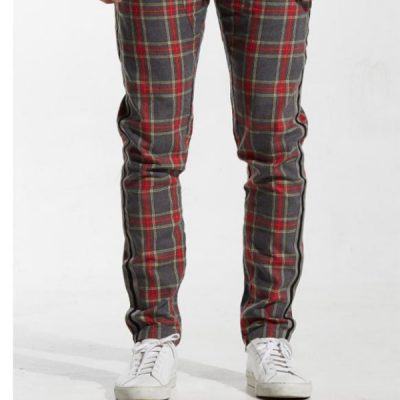 Embellish NYC – Simpson Track Pants – Grey/Red Plaid