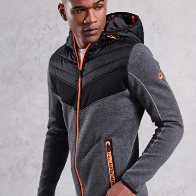 super dry – gym tech chevron hybrid jacket – grey