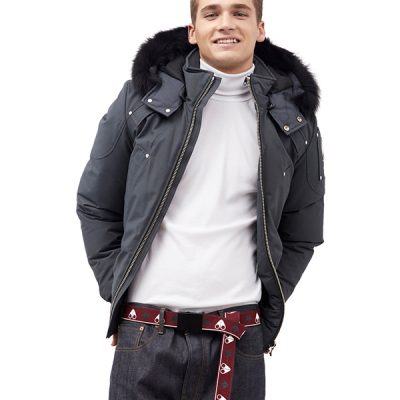 Moose Knuckles – Ballistic Bomber – Grey w/ Blk Fur