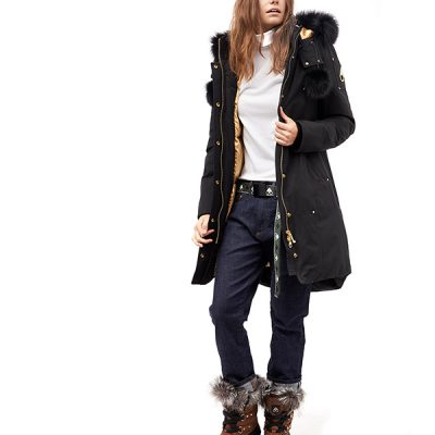 Moose Knuckles – Grand Metis Parka – Black w/ Blk Fur and Gold accent