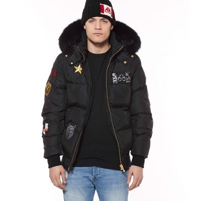 Moose Knuckles – Colinton Bomber – Black w/ Blk Fur