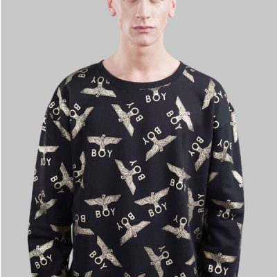 BOY London – BOY Repeat Eagle Crewneck – Black/Gold