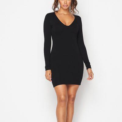 HD – Long sleeve V-neck Body Con – Black