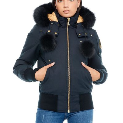 Moose Knuckles – Sainte Flavie Bomber – Navy w/ Black Fox Fur