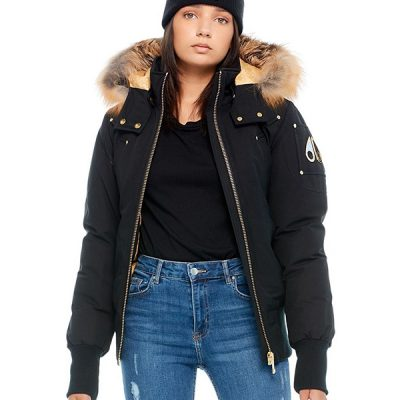 Moose Knuckles – Sainte Flavie Bomber – Black w/ Gold Fox Fur