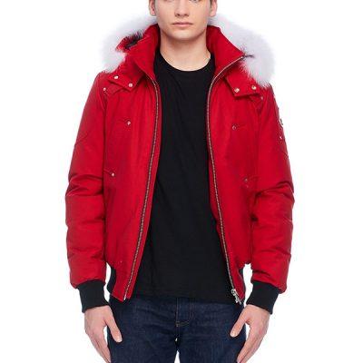 Moose Knuckles – Ballistic Bomber – Red w/ Natural Fox Fur