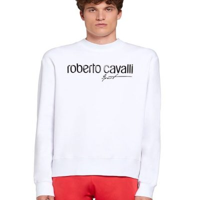 Roberto Cavalli – Rubberised Crewneck – White