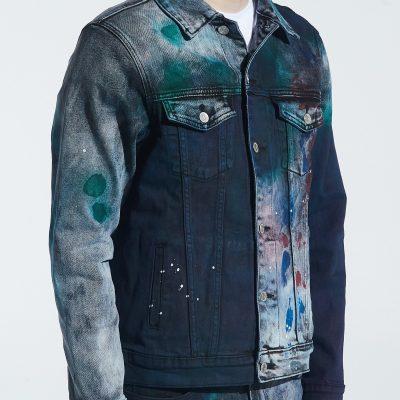 Embellish NYC – Brees Denim Jacket – Tie Dye Green