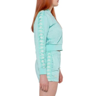 Kappa – Banda Asper Cropped Full Zip Sweater – Green Aqua