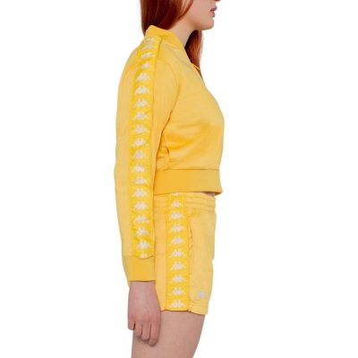 Kappa – Banda Asper Cropped Full Zip Sweater – Yellow