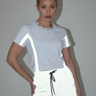 Project x Paris – Reflective tape Crop top – White