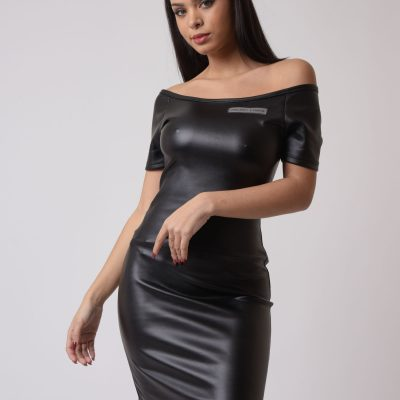 Project x Paris – Leather like dress – Black