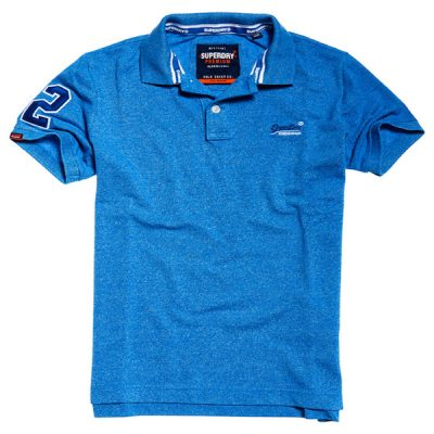 Superdry – classic pique polo – blue