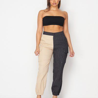 HD – Half and Half Pinstripe Pants – Black/Beige