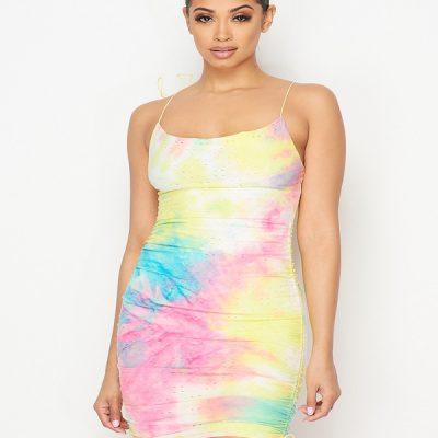 HD – Ruched Tie Dye Dress – Tie Dye
