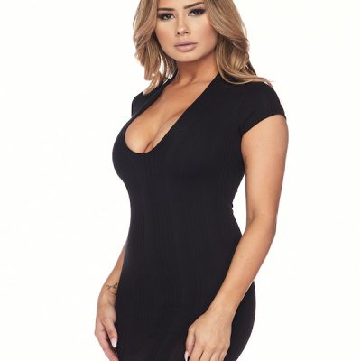 HD – Deep V Body con Dress – Black