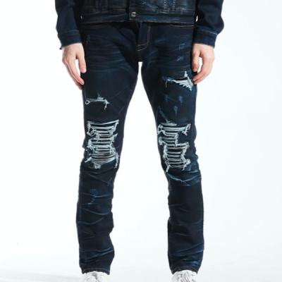 Embellish NYC – Bryce Rip and Repair Denim – Indigo