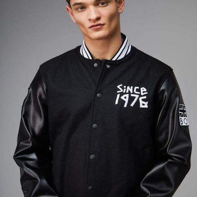Boy London – Tape Varsity Jacket – Black