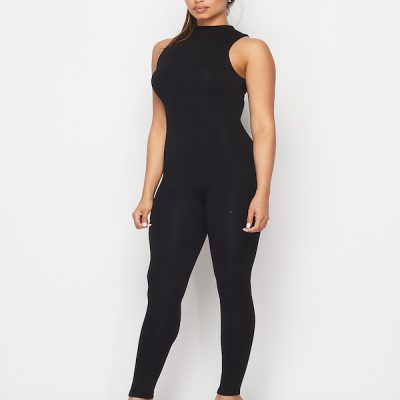 HD – Mock Sleeveless Jump suit – Black