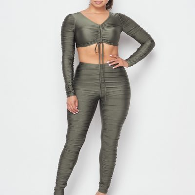 HD – Ruched LS Crop top w/ Ruched Tights Set – Olive