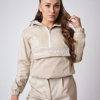 Project X Paris – Leather Like quilted cropped Anorak – Beige