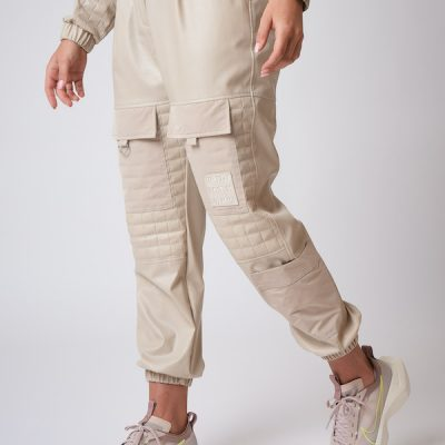 Project X Paris – Leather Like quilted cargo joggers – Beige