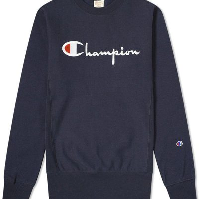 Champion – Script Embroidered Crew – Navy