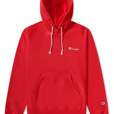 Champion – Small Script Hoodie – Red