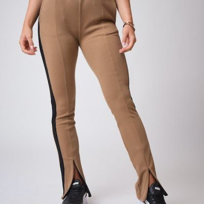 Project X Paris – Ribbed tight flare pants – Caramel