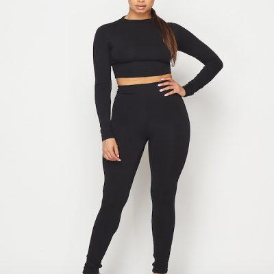 HD – LS Crop + Legging set – Black