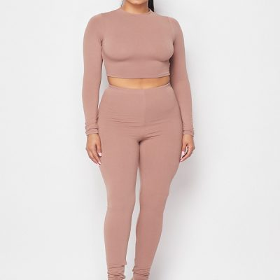 HD – LS Crop + Legging set – Mocha