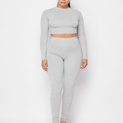 HD – LS Crop + Legging set – Grey