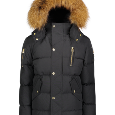 Moose Knuckles – Unisex 3q Kids Parka – Black w/ Red Fox fur