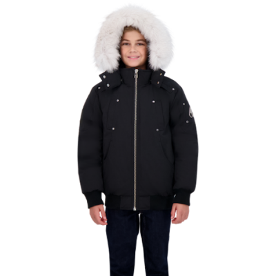 Moose Knuckles – Kids Bomber – Black w/ Natural fox fur