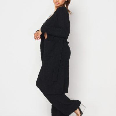 HD – Fuzzy Knit Cardigan – Black