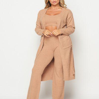 HD – Fuzzy Knit Cardigan – Taupe