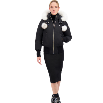 Moose Knuckles – Debbie Bomber – Black w/ White Fur