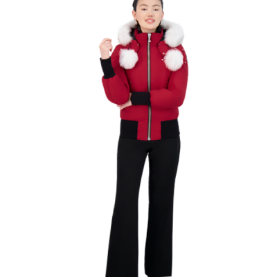 Moose Knuckles – Debbie Bomber – Red w/ White Fur