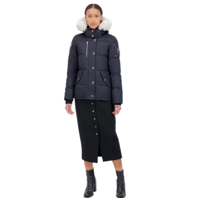 Moose Knuckles – Ladies 3q Parka – Navy w/ White