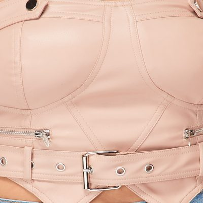 HD – Leather crop top – Beige