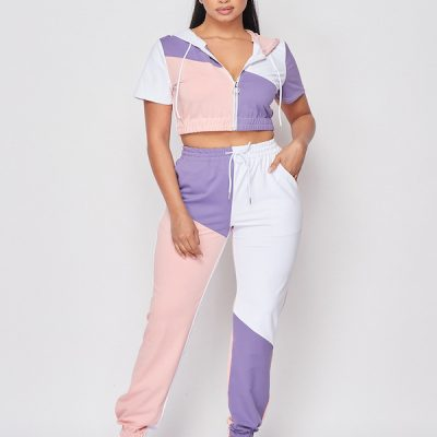 HD – Crop hoodie w/ sweat pants set – Pink/White/Purple